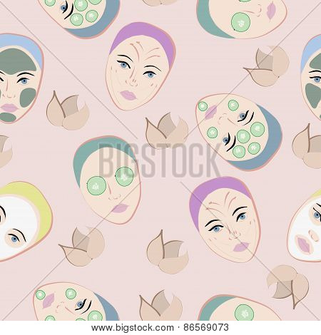 Seamless pattern with faces