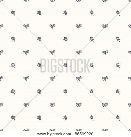 Vector seamless retro pattern, with bow tie and rose.