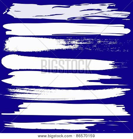 Vector Set Of Grunge Brush Strokes On Blue Background