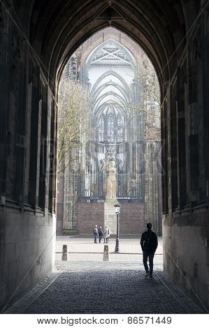 People Under Dom Tower In Utrecht