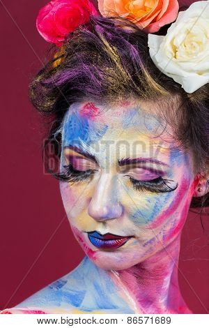Artistic work of make-up artist. Flower girl