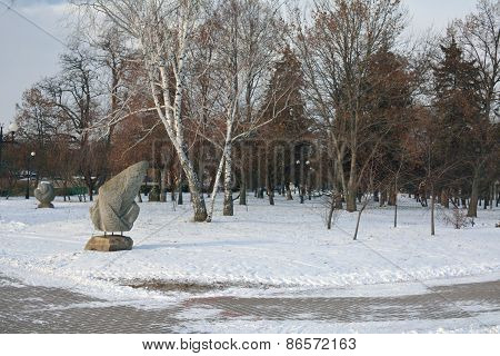 Pagan Carved Stones In Bright Winter Day, Chernihiv