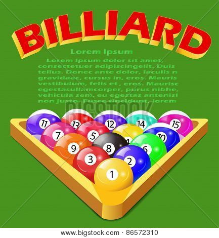 Green Background With Balls For Billiards