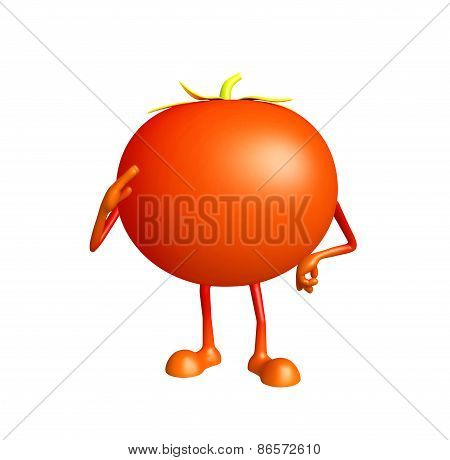 Tomato Character With Salute Pose
