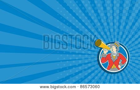 Business Card Circus Ringmaster Bullhorn Circle Cartoon