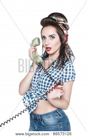 Young Beautiful Woman In Pin-up Style With Retro Telephone Isolated