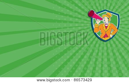 Business Card Circus Ringmaster Bullhorn Crest Cartoon