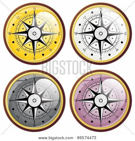 Set Wind Rose Compass Flat Symbols. Vector Illustration.