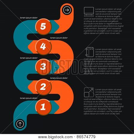 Snake Shape Infographics, Dark Background With Icons.