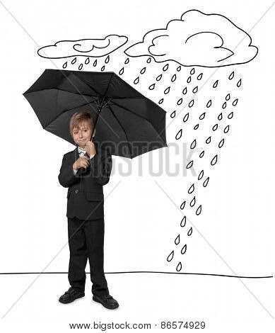 social protection of the children. The young man took refuge from the miseries and rain under an umbrella