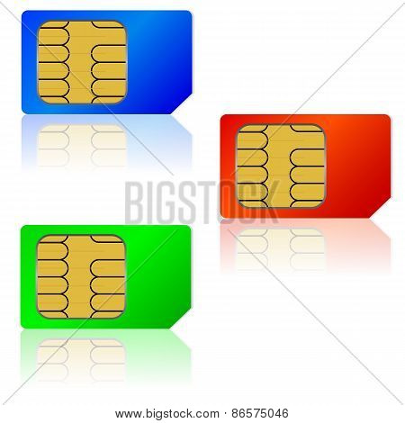 Set  Sim Cards. Vector Illustration.