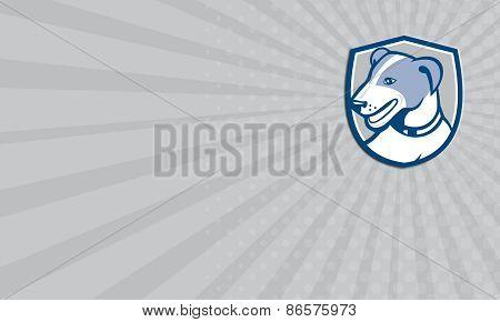 Business Card Jack Russell Terrier Head Shield Cartoon