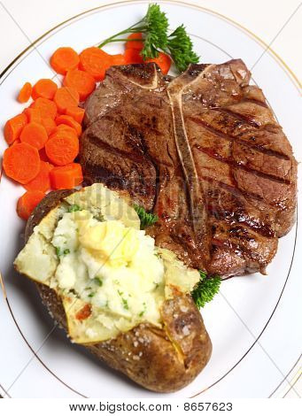 Porterhouse Steak Meal Top View