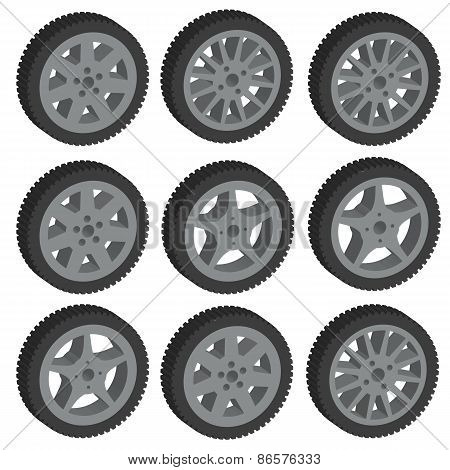 Automotive Wheel With Alloy Wheels. Vector Illustration.