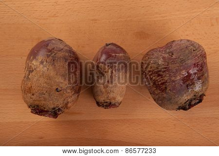 Three Fresh Beetroots