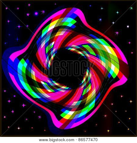 Background Frame Abstract Bright Neon Rectangles In A Circle