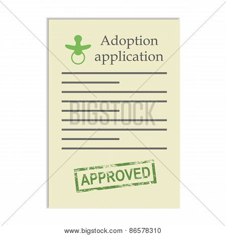 Adoption application with approved stamp