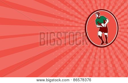 Business Card Rugby Player Running Passing Ball Retro