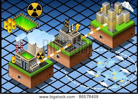 Isometric Infographic Atomic Energy Harvesting Diagram