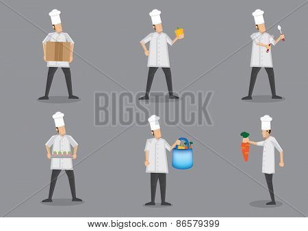 Chef In White Uniform And Toque Vector Character Illustration
