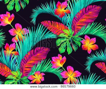 seamless tropical flowers pattern, sexy and exotic.