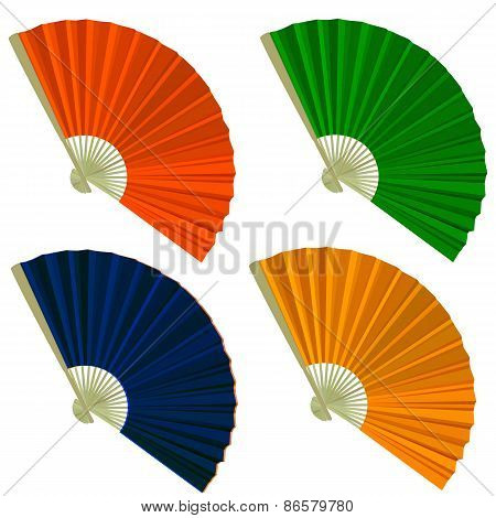 Set Traditional Folding Fans. Vector Illustration.