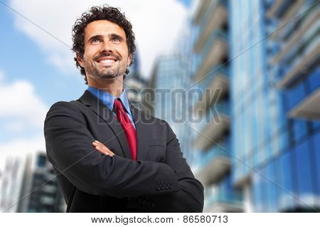 Smiling businessman portrait outdoor