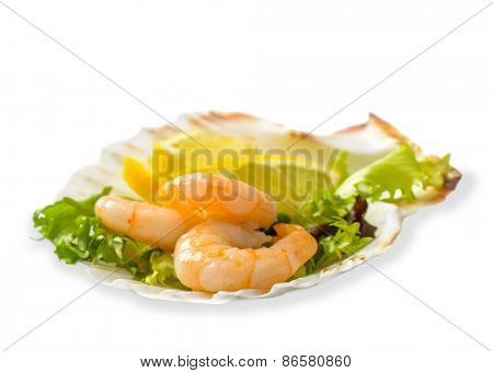 Prawn salad with lemon slices on a white background