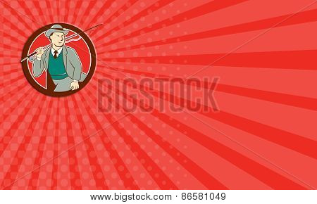 Business Card Vintage Fly Fisherman Bowler Hat Cartoon