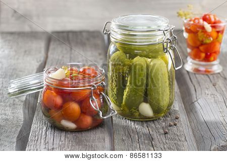 Jars With Pickles Cucumbers, Tomatos, Custard