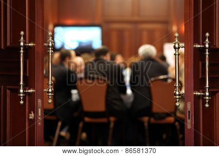 Business event background. Shallow depth of field