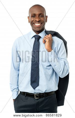 Smiling Business Man In Suit Isolated On White
