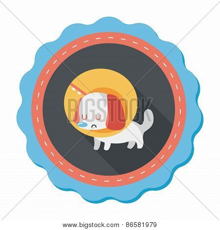 Pet Elizabethan Collar Flat Icon With Long Shadow,eps10
