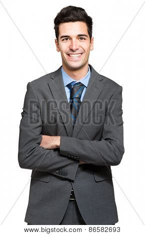 Confident manager on white background