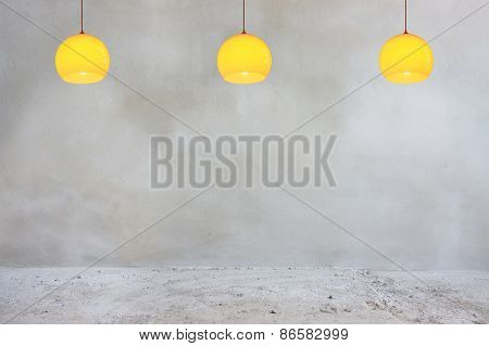 Concrete Wall And Floor With Orange Lamps