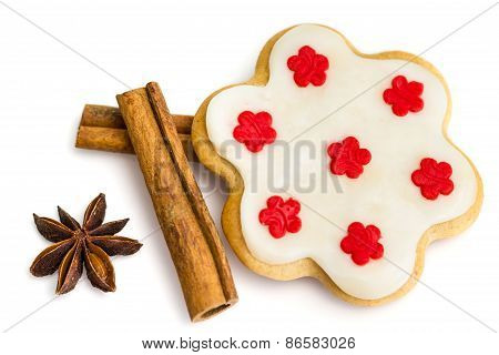 Gingerbread Cookies With Royal Icing In The Shape Of A Flower With Star Anise And Cinnamon