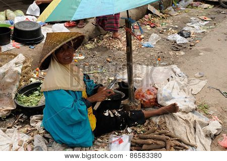People From Indonesia, Woman Selling Vegetables