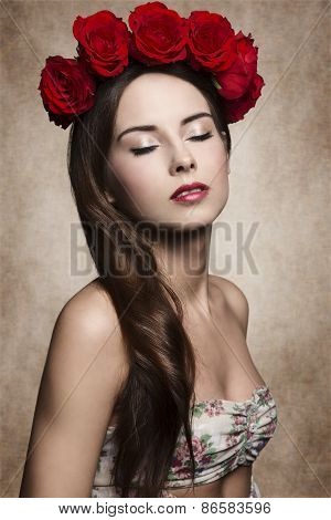 Girl With Flowers On Head