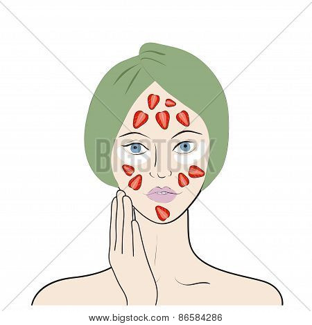 Vector illustration of a girl with strawberry mask