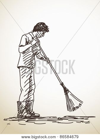 Sketch of janitor Hand drawn Vector illustration