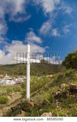White Wooden Cross Standing On Hill