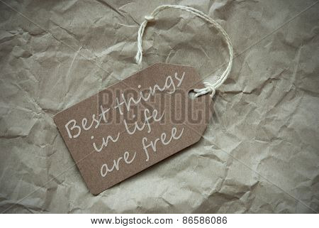Beige Label With Quote Things Life Free Paper Background