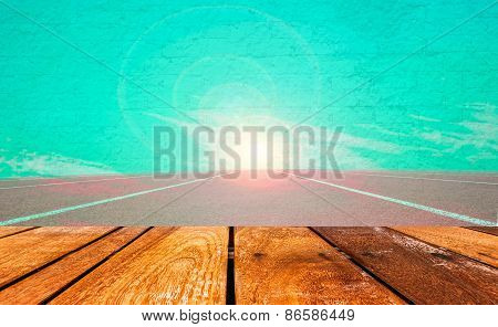 Vintage Style  Of Running Track Lane  And Sky Background With Space For Text.