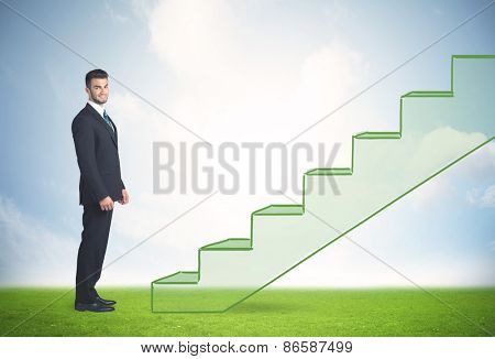 Business person stepping up a hand drawn staircase in the nature