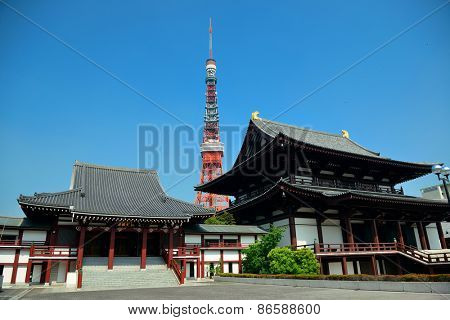 Tokyo Tower and temple as the city landmark. Japan.
