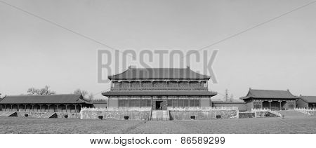 Historical architecture panorama in Forbidden City in Beijing, China in black and white.