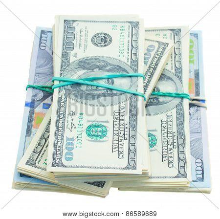 thre piles of dollars money