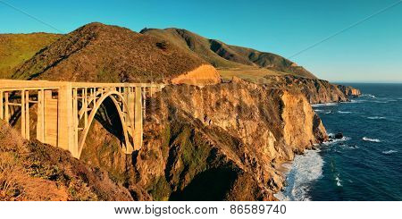 Bixby Bridge panorama as the famous landmark in Big Sur California.