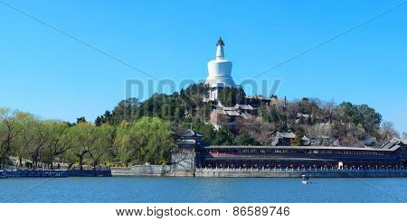 Beihai park panorama with historical architecture in Beijing