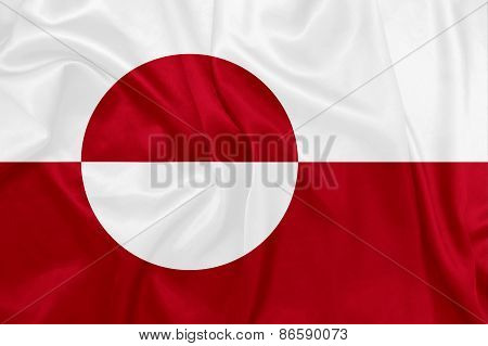 Greenland - Waving national flag on silk texture